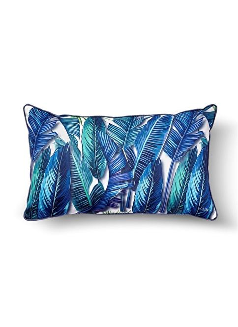 The Mia Tropik Yastık - Banana Palm Mavi  50 x 30cm Renkli
